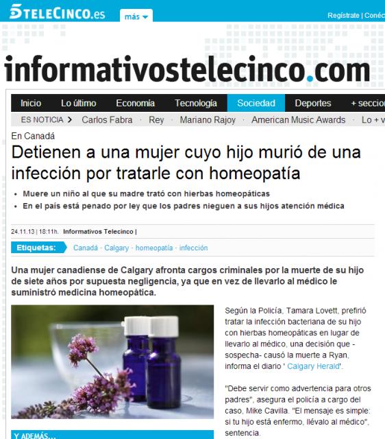 Detienen a una mujer cuyo hijo murió de una infección por tratarle con homeopat�a   Noticias Sociedad   INFORMATIVOS