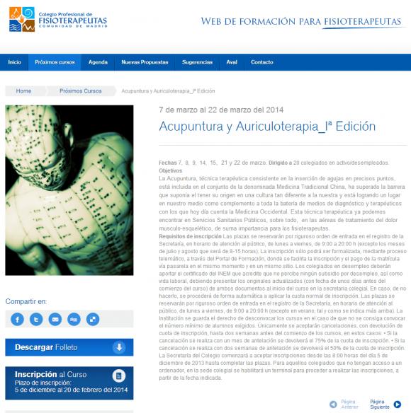 Colegio Profesional de Fisioterapeutas – Comunidad de Madrid » Acupuntura y Auriculoterapia_Iª Edición