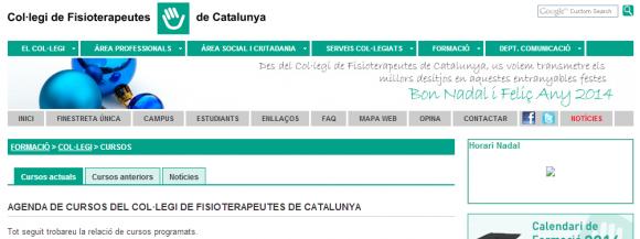 Cursos del Col·legi - Col·legi de Fisioterapeutes de Catalunya