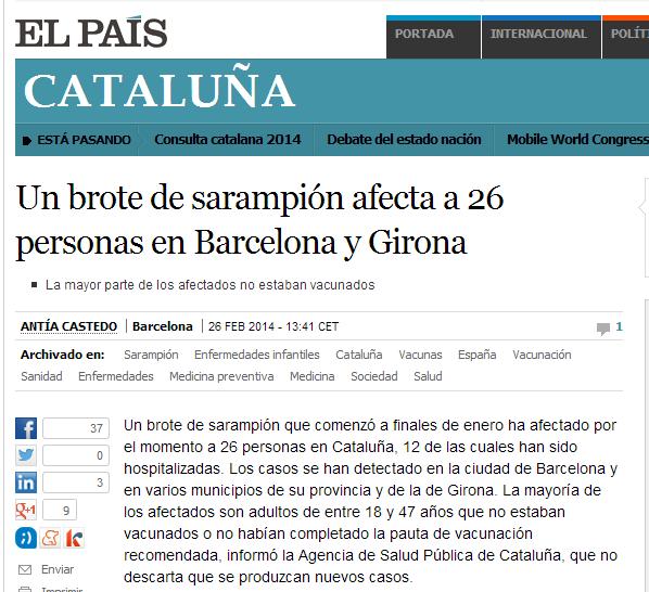 Un brote de sarampión afecta a 26 personas en Barcelona y Girona   Cataluña   EL PAÍS