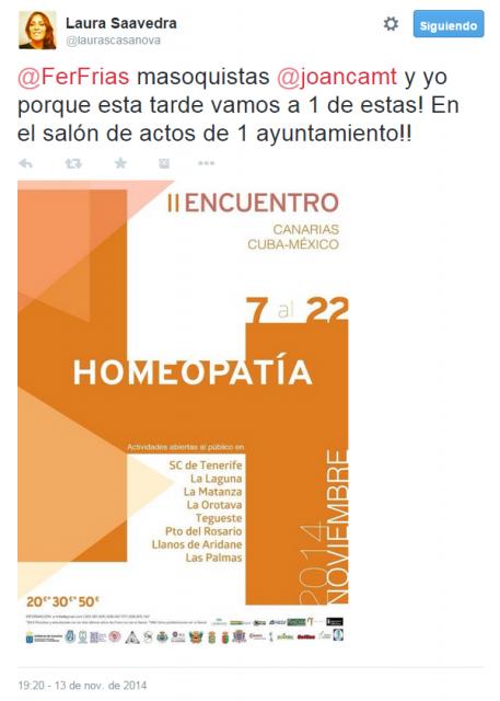 Laura Saavedra me anuncia que ella y Juan Carlos Montero van a asistir a una charla homeopática