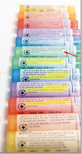 Según sus propias etiquetas, estos productos homeopáticos solo contienen azúcar.