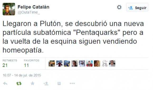 """Llegaron a Plutón, se descubrió una nueva partícula subatómica """"Pentaquarks"""" pero a la vuelta de la esquina siguen vendiendo homeopatía."""