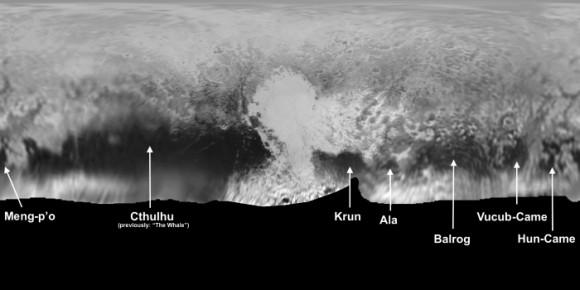 """Algunos de los nombres (todavía no oficiales) de diversas zonas de Plutón. Falta el más importante: el """"corazón"""" será bautizado como Tombaugh Regio."""