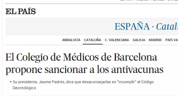 El Colegio de Médicos de Barcelona propone sancionar a los antivacunas