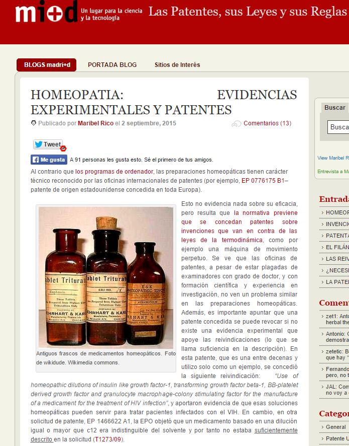 HOMEOPATIA  EVIDENCIAS EXPERIMENTALES Y PATENTES
