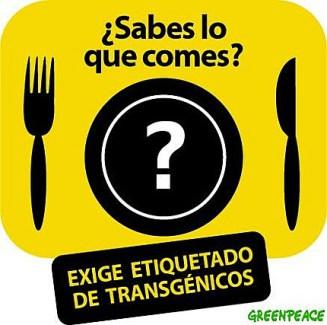 Logotipo de una campaña con la que Green Peace exigía el etiquetado de los productos transgénicos. en 2009, obligatorio en la Unión Europea desde 2003.