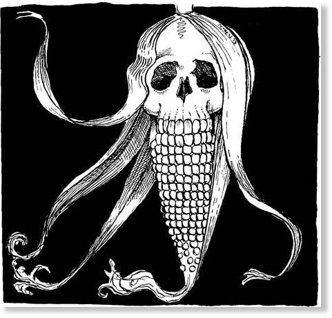 mazorca de maíz en forma de calavera humana