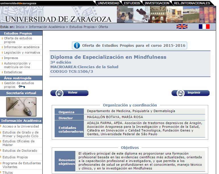 Experto mindfulness Zaragoza