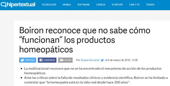 Boiron reconoce que no sabe cómo funciona la homeopatía titular