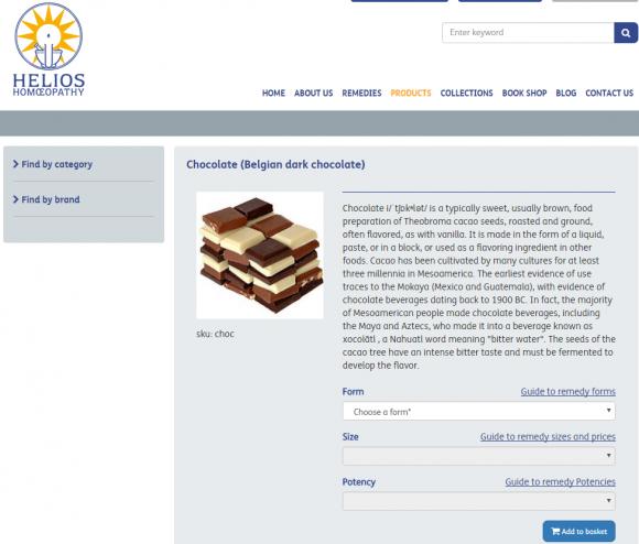 Helios Homoeopathy   Chocolate