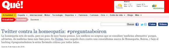 Twitter contra la homeopatía   preguntaaboiron    Qué.es