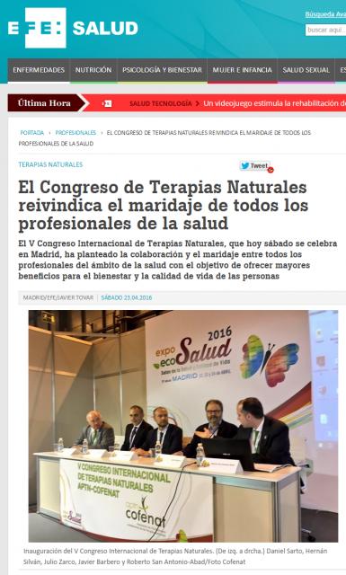 El Congreso de Terapias Naturales reivindica el maridaje de todos los profesionales de la saludnoticias de salud  Agencia Efe