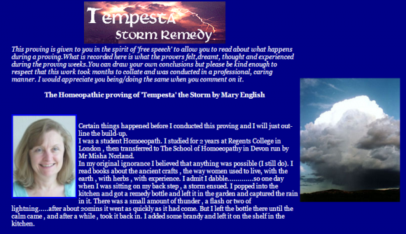The Homeopathic proving of Tempesta the Storm by Mary English DSH
