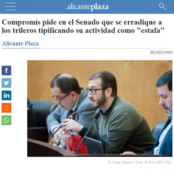 Compromís pide en el Senado que se erradique a los trileros tipificando su actividad como estafa Alicanteplaza