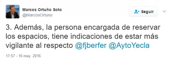 Marcos Ortuño Soto en Twitter 3. Además la persona encargada de reservar los espacios tiene indicaciones de estar más vigilante al respecto fjberfer AytoYecla