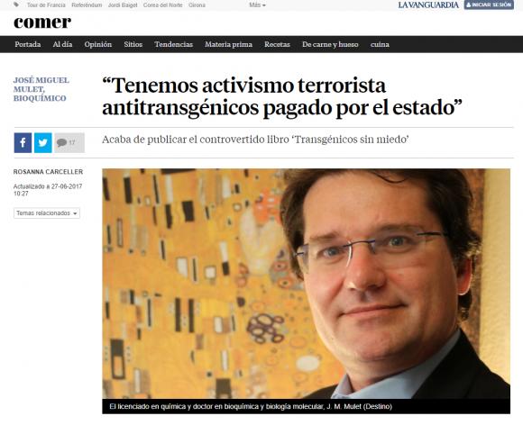"""""""Tenemos activismo terrorista antitransgénicos pagado por el estado"""""""