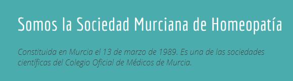 Captura de la web de la Sociedad Murciana de Homeopatía
