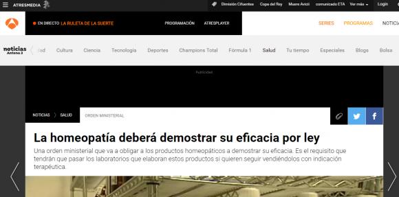 """Titular erróneo de Antena 3 diciendo que """"La homeopatía deberá demostrar su eficacia por ley"""""""