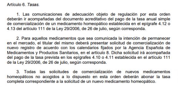 Las tasas en el borrador de Orden de 2013