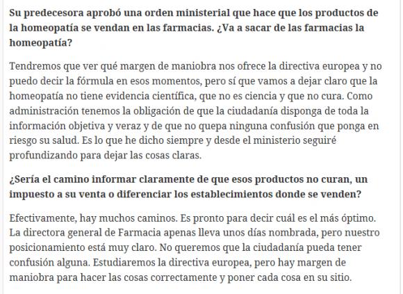 Fragmento de la entrevista a Carmen Montón en el que recuerda que hay que estudiar los márgenes que permite la normativa europea en la regulación de los productos homeopáticos