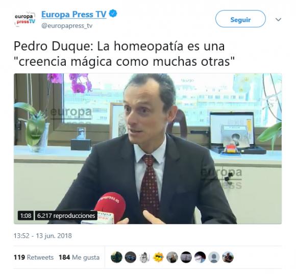 Pedro Duque critica nuevamente la homeopatía en una entrevista