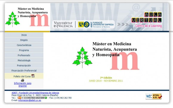 Universidad de Valencia: Máster en Medicina Naturista, Acupuntura y Homeopatía