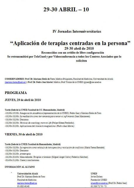 """La Universidad Nacional de Educación a Distancia (UNED), la Universidad de Alcalá y la """"Aplicación de terapias alternativas centradas en la persona"""""""