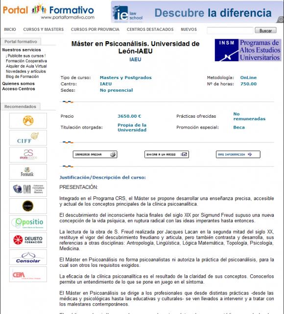 La Universidad de León enseña psicoanálisis