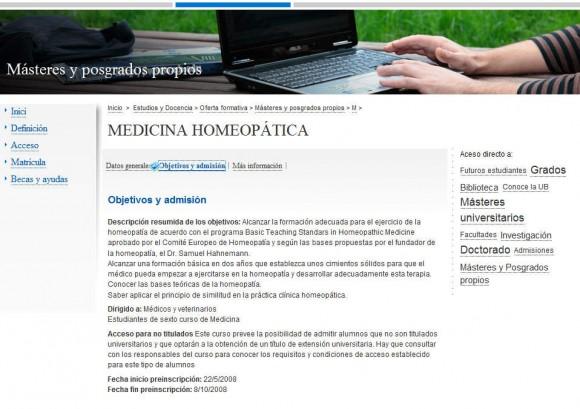 La Universidad de Barcelona también enseña homeopatía