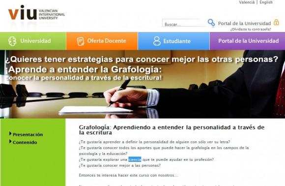 La Universidad Internacional Valenciana y la grafología