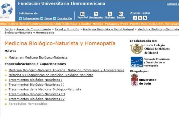 La Universidad de León y la homeopatía