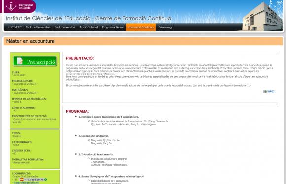 La Universidad de Lleida y la acupuntura