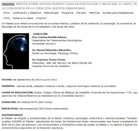 Más difícil todavía: la Universidad Jaime I de Castellón y su Máster en terapias pseudocientíficas