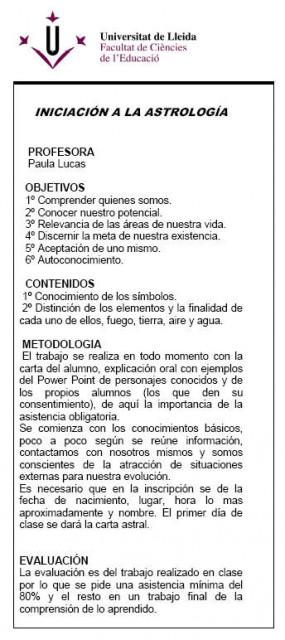 La Universidad de Lleida y la astrología. Sí, en serio.