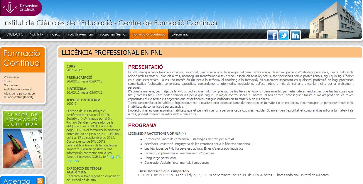 """Licencia profesional de PNL"""" en la Universidad de Lleida ..."""
