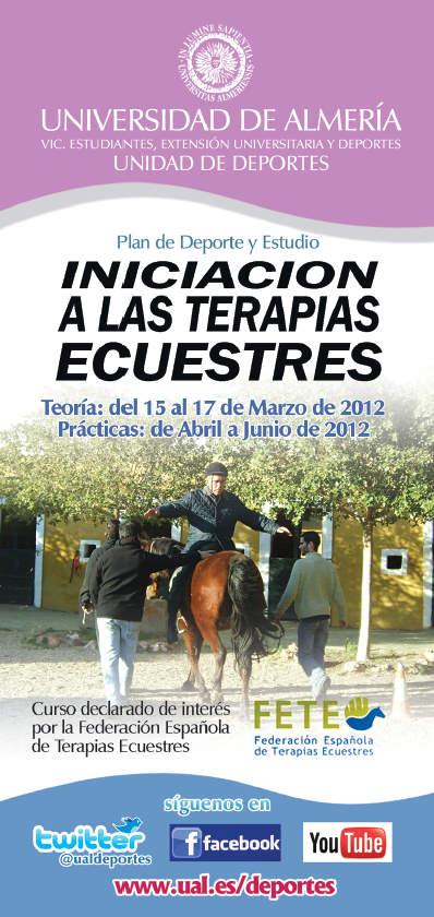 Portada del tríptico del Curso de Terapias Ecuestres de la Universidad de Almería