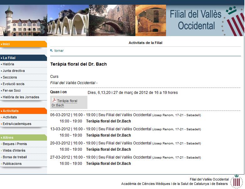 Cursos de flores de Bach en la Filial del Vallés Occidental de la Academia de Ciencias Médicas de Cataluña y las Islas Baleares