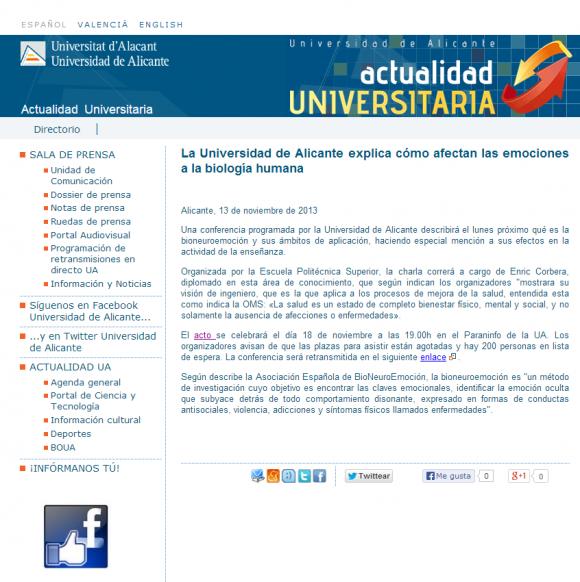 La Universidad de Alicante explica cómo afectan las emociones a la biología humana. Actualidad Universitaria
