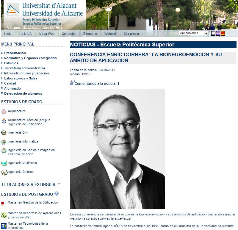 Noticia conferencia La bioneuroemoción y su ámbito de aplicación