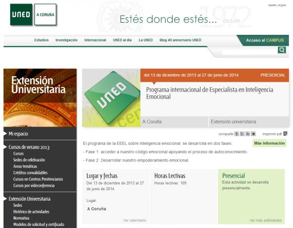 Programa internacional de Especialista en Inteligencia Emocional   Extensión Universitaria en A Coruña   UNED