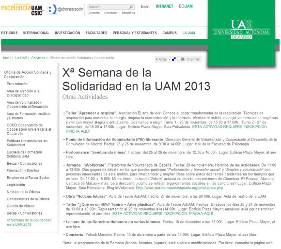 Universidad Autónoma de Madrid   Otras Actividades