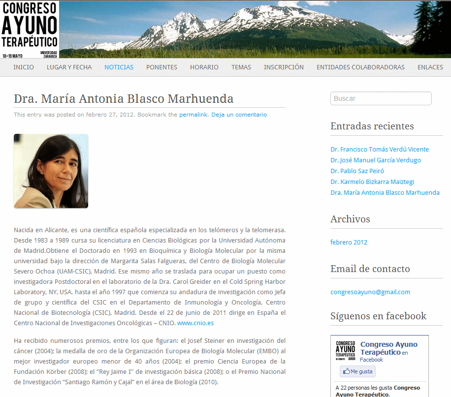 perfil biográfico de María Antonia Blasco que figuraba en la web del congreso