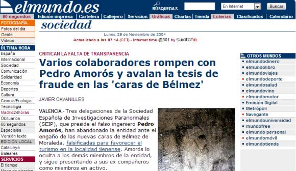 elmundo.es   Varios colaboradores rompen con Pedro Amorós y avalan la tesis de fraude en las  caras de Bélmez