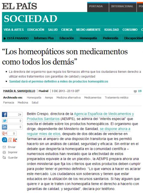 """""""Los homeopáticos son medicamentos como todos los demás"""" Sociedad EL PAÍS"""