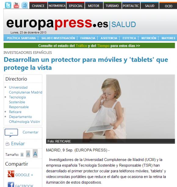 Desarrollan un protector para móviles y  tablets  que protege la vista