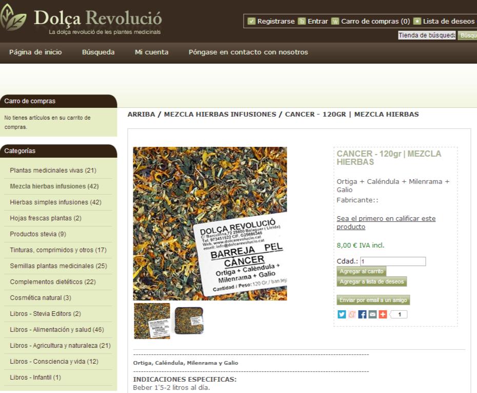 La dolça revolució de les plantes medicinals. CANCER - 120gr   MEZCLA HIERBAS