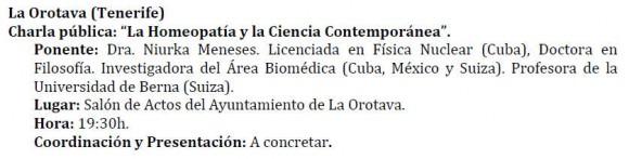 El anuncio de la charla con el currículum de la ponente.
