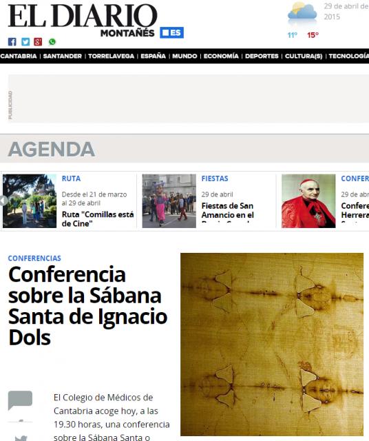 Conferencia sobre la Sábana Santa de Ignacio Dols en Santander   El Diario Montañes