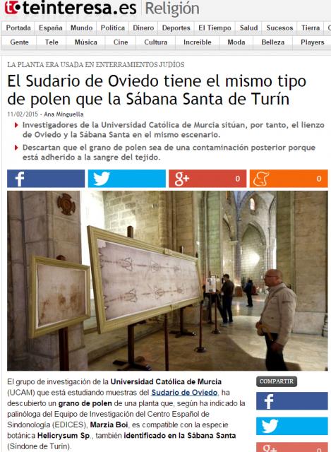 El Sudario de Oviedo tiene el mismo 1